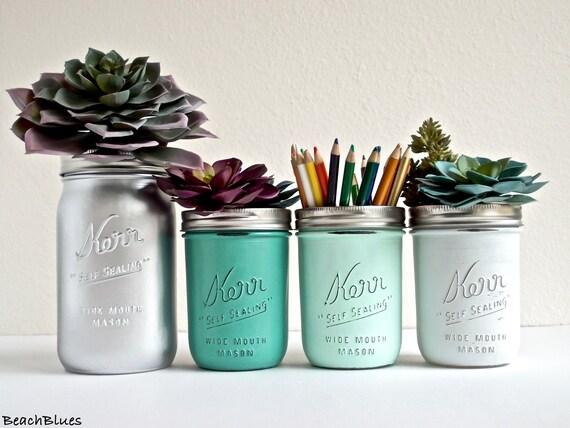 Dorm Decor - Home Office Decor - Painted Mason Jar - Pencil Holder - Vase / Pink / Copper / Grey / Mint / Jade / Silver / Set of 4