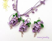 Lilac Jewelry, Flower Jewelry, Jade Jewelry, Floral Necklace, Lilac flower Earrings, Spiral Earrings, Romantic Jewelry, Spring Jewelry