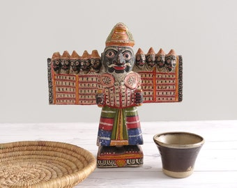 Antique Ravana Statue Paper Mache Hindu Ramayana
