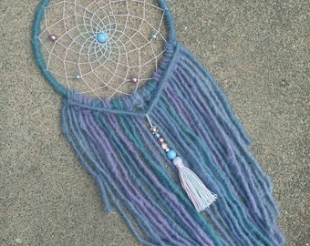 Boho Dreamcatcher spring with yarn falls and tassel charm in pastel colors, wallhanging homedecor