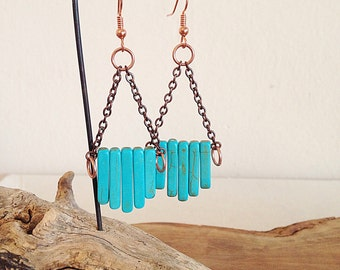 Canyon Dreams. Southwest Inspired Turquoise and Copper Earrings