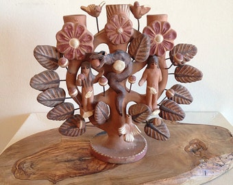 Vintage Mexican Clay Tree of Life Adam and Eve Candleholder Folkart