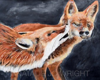 Fox and Kit painting by Natalie Jo Wright Fox painting large scale art on paper original acrylic painting on paper
