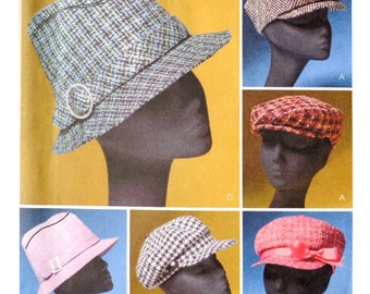 Womans Hats Sewing Pattern - Fedora, Pageboy Cap with Bow, Lined Hat - Size Medium, Size Small 21 1/2 and 22 1/2