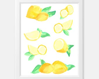 lemon watercolor print - kitchen art print - watercolor lemon print - watercolor lemons - watercolor lemon art print - kitchen lemon print