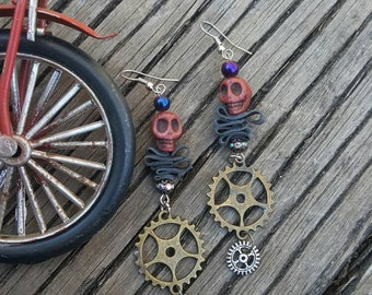 Recycled Bicycle Tire Earrings // Steampunk Gear and Skull Charms //