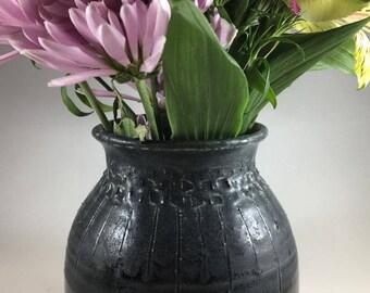 Pottery Vase, Ceramic Vase, Flower Vase, Black Vase, Handmade Vase, Hostess Gift, Housewarming Gift