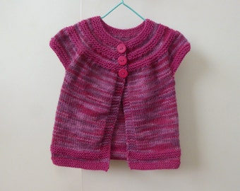 Sweet hand knitted short sleeved cardigan | pink and berry colour | baby girl to 12 months