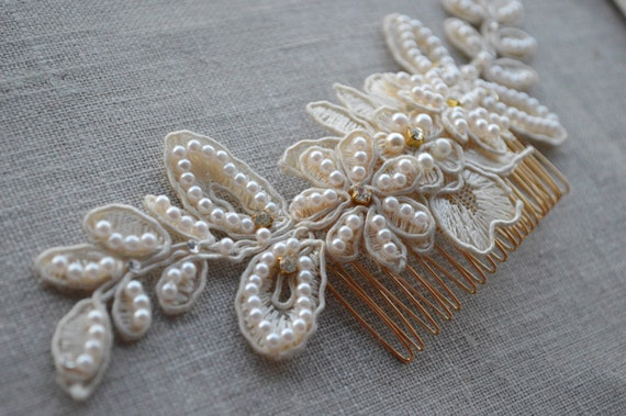 Bridal Hair Comb - Lace Headpiece - Wedding Hair Comb - Wedding Hair Accessories - Bridal Hair Pieces - Hair Jewelry - Ivory Wedding Comb