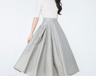 grey skirts, midi skirt, skirts with pockets, circle skirt, tea skirt, grey long skirts, long grey skirts,  womens skirts   C1067