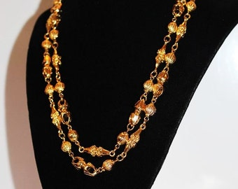 SALE! MONET Vintage Couture Designer Etruscan Textured Metal Link Runway Necklace ND1