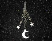 Moon & Stars Dust Plug, Phone Charms, Kawaii, Kitsch, Celestial, Kawaii Dust Plug, Cute Phone Charm, Mystical, Gypsy, Boho, Witch, Crescent