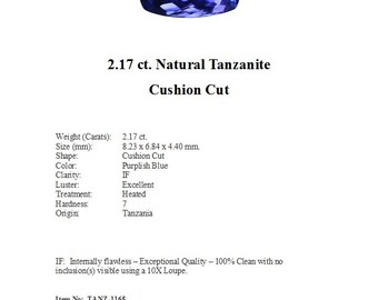 Just Arrived - TANZANITE - 2.17 cts of Flawless Light Violetish Blue Tanzanite in a Classic Cushion Cut...