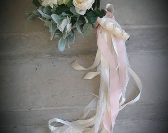 Romantic Ivory Blush Roses Bridal Bouquet Custom Order