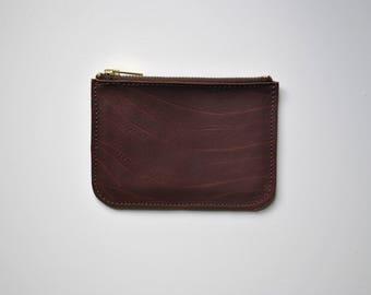 SALE Handmade leather purse round edge 'Brown Buffalo' 14x10.5cm brass YKK zip, internal pocket amazing soft buffalo leather reddish brown