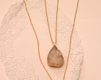 Ivory Geode Necklaces Mommy-Daughter Set