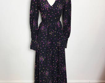 Vintage 1970s Long Sleeved Black Floral Maxi Dress, Size Medium