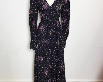 Vintage 1970s Long Sleeved Black Floral Maxi Dress, Size Medium