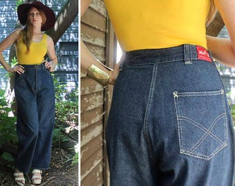 "70s Blue Jeans DENIM PANTS Vintage Woman's ""White Stag"" Stitched X Pocket Portland Made Mod High Waist Wide Leg Pant Medium Large Size 30 W"