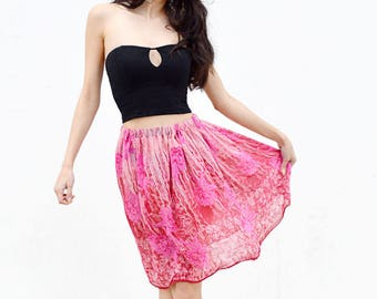pink silk skirt, sheer skirt, beach skirt, floral gathered skirt, knee length coverup, elastic waist boho bohemian festival coverup ballet