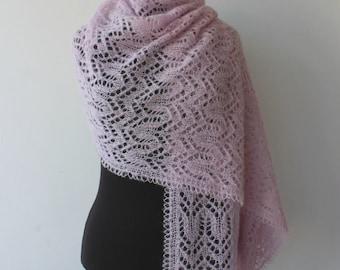 Hand knitted powder pink lace shawl, hand knit cozy warm wrap, pink women's scarf, handmade, luxury brushed alpaca silk