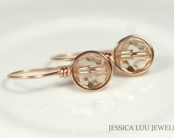 Rose Gold Swarovski Crystal Earrings Wire Wrapped Jewelry Rose Gold Earrings Swarovski Crystal Jewelry Rose Gold Jewelry Dangle Earrings