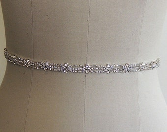 Thin Bridal Gown Sash, Wedding Dress Belt Sash, Thin Rhinestone Crystal Sash, Bridesmaids