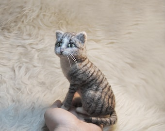 Needle Felted Cat, Handmade Animal, Cute Grey Striped Cat - READY TO SHIP