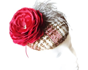 Tweed cocktail hat. Church hat. Red and brown hat. Flower and feathers fascinator. Race hat. Statement hat. Pill box hat. Wedding hat.