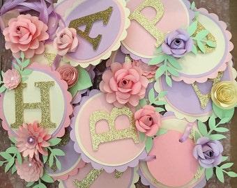 Customizable paper flower birthday banner. Floral happy birthday banner. First birthday decorations. Flower birthday banner. Colorful banner