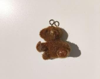 vintage tiny 1980's fuzzy brown bear charm