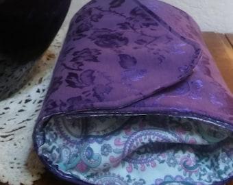 Purple jacquard convertible clutch