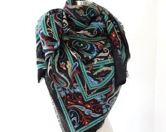 70s vintage paisley oversize scarf shawl// black shawl scarf with magic paisley