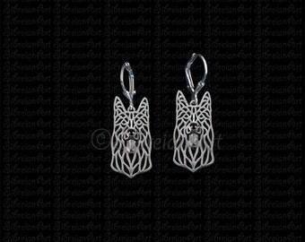 Black German Shepherd dog earrings - sterling silver