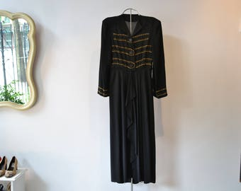 Gorgeous Studded 1940's Dress. Flattering! Black Rayon, shoulder pads, long sleeve, size Medium