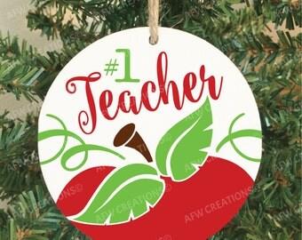 Teacher Ornament, Teacher Gift, Teacher Appreciation, Teacher Christmas, #1 Teacher, School, Kindergarten, Preschool