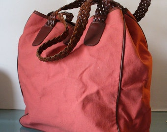 Made in Italy Talbots Canvas  & Leather Tote Bag