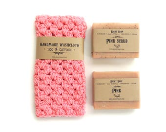 Women Gift Set - Soap and washcloth, Natural Soap, Crochet washcloth, Gift for Mother, Gift for her, Gift for Mom, Soap,Washcloth, Soap gift