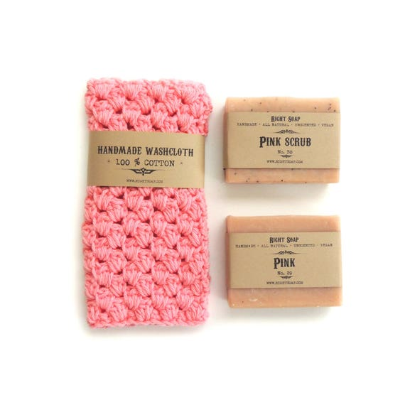 Women Gift Set - Soap and washcloth, Natural Soap, Crochet washcloth, Gift for Mother, Gift for her, Gift for Mom, Soap,Washcloth, Soap gift
