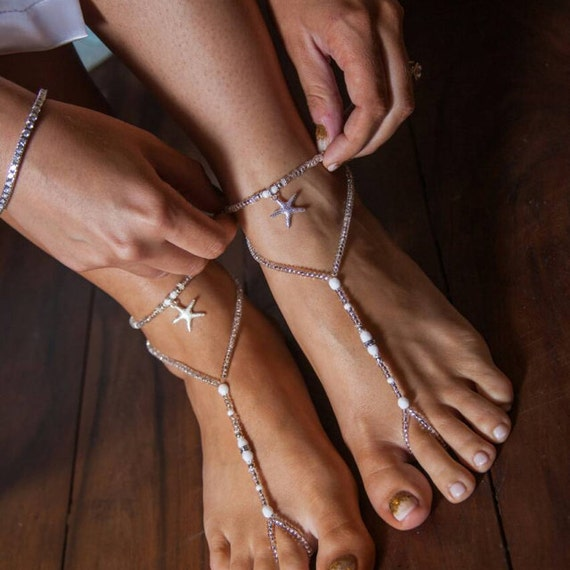 Beach Wedding Barefoot Sandal White Silver Bridal Foot Jewelry