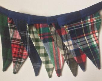Mad For Plaid Fabric Banner. Soft, Flannels and Shirtings. Christmas Plaid Bunting. Tartan. Holiday Garland. Christmas Decor.