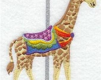 Carousel Giraffe Embroidered Towel | Flour Sack Towel | | Dish Towel | Kitchen Towel | Hand Towel | Carousel Ride