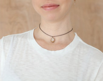 Freshwater Pearl Choker-Gunmetal Choker Pendant Necklace-Rose Pink Copper Pearl Necklace-Natural Irregular Pearl-Gifts for Her