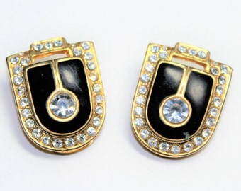 Art Deco Style Sparkly Rhinestone Diamante Black Gold Coloured Clip On Vintage Earrings (c1980s)