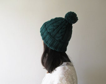 Cable Knit Hat in Dark Green, Womens Pom Pom hat, Hand Knit Beanie with Folded Brim, Winter Accessories, Wool Blend, For Her, Made to Order