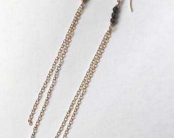Long Gold Chain & Pyrite Earrings