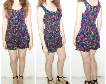 Vintage purple absract print romper vintage jumpsuit vintage shorts playsuit multi color print jumper
