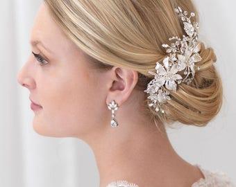 Floral Bridal Hair Clip, Rhinestone Hair Clip, Flower Hair Clip, Wedding Hair Clip, Bridal Hair Comb, Bridal Headpiece, Hair Clip ~TC-2288