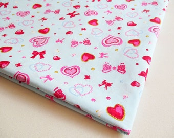 Love Red and Ribbon Fabric, Jewel lovely heart fabric, Quilt, Baby shower, Valentine Fabric, Honey, Wedding, Curtain, pillow cover,  CT616