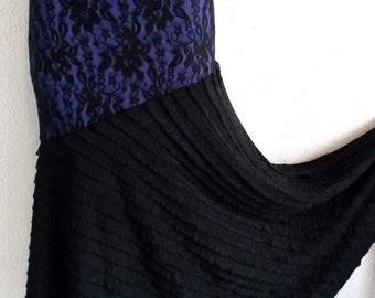 Flamenco Skirt Ballroom Falda Flamenca black lace purple stretch ruffles S/M